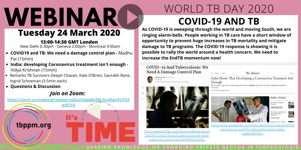 COVID-19 and Tuberculosis (TB) World TB Day 2020 Webinar